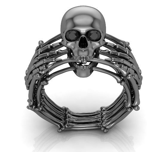 Skull and Bones Silver Skull Ring - Temple of The Ancient Dragon
