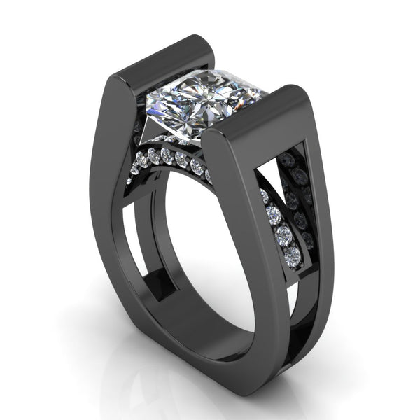 Black Gold and White Diamond Engagement Ring (Moissanite) 14 k - Temple of The Ancient Dragon