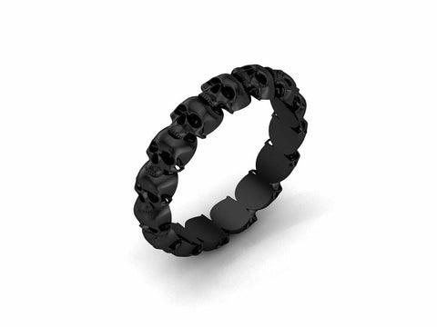 Black Gold Men Simple Skull Band 10 k - Temple of The Ancient Dragon