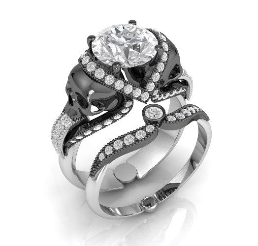 Skull Engagement Ring Set in Silver Temple of The Ancient Dragon