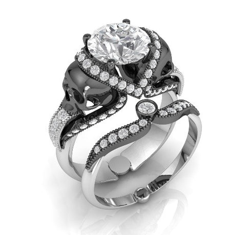 Skull Engagement Ring in Solid Silver Dragon Platinum with Black Dragon Platinum over Skulls