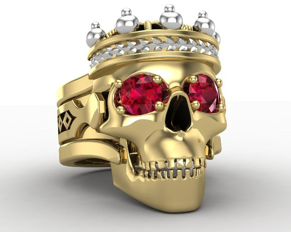 Gold Skull King Ring with Garnet Eyes 10 k - Temple of The Ancient Dragon