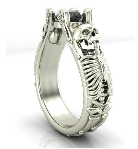 Bent Skeleton Skull Engagement Ring 18 k - Temple of The Ancient Dragon
