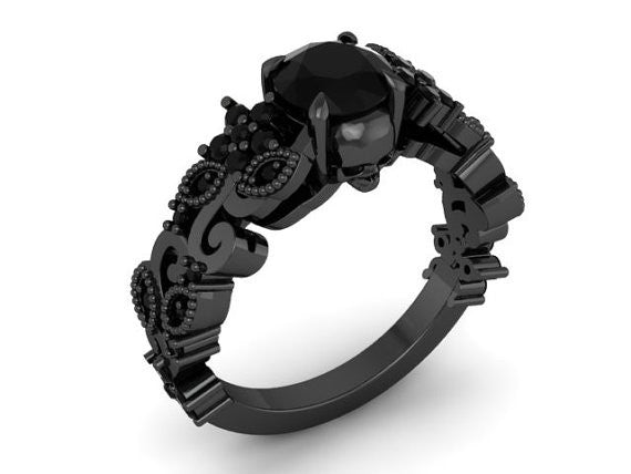 Black Skull Engagement Ring 10 k - Temple of The Ancient Dragon