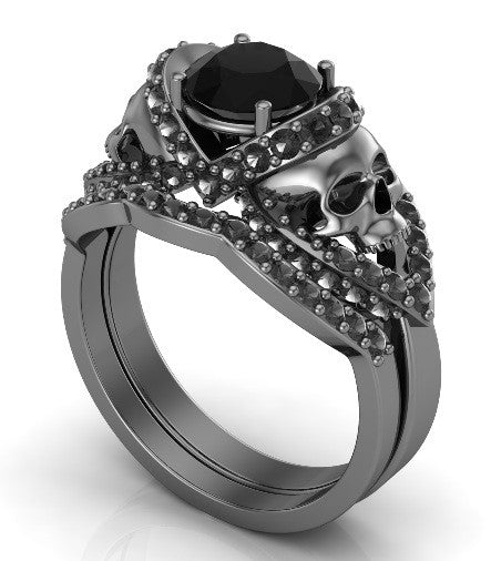 Gun Metal Solid Gold Skull Engagement Ring Set Black Diamond