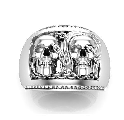 Forever Together Ring Solid 10 k Unisex Skull Ring - Temple of The Ancient Dragon