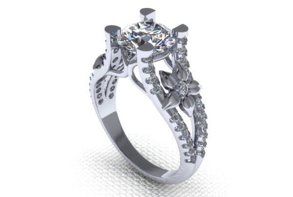 White Gold with 1 ct White Moissanite VVS 1 - Temple of The Ancient Dragon TM