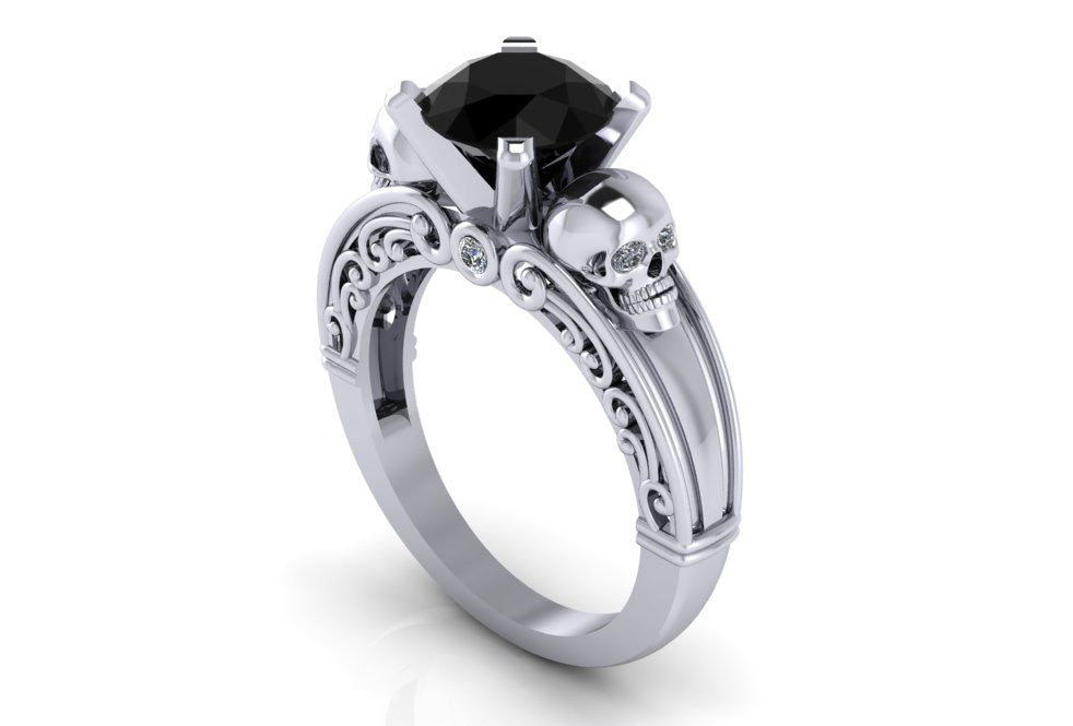 Gothic Black Diamond Skull Engagement Ring Temple of The Ancient