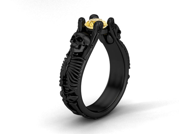 Bent Skeleton Engagement Ring with Genuine Canary Diamond  18 k - Temple of The Ancient Dragon