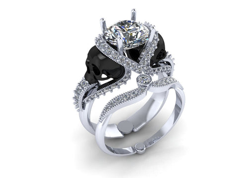 Skull Engagement Ring 22 K With Genuine Diamond Center 1 Carat Temple Of The Ancient Dragon