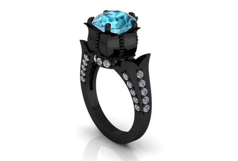 2 Carat Aquamarine Gothic Engagement Ring 14 k Black Gold - Temple of The Ancient Dragon