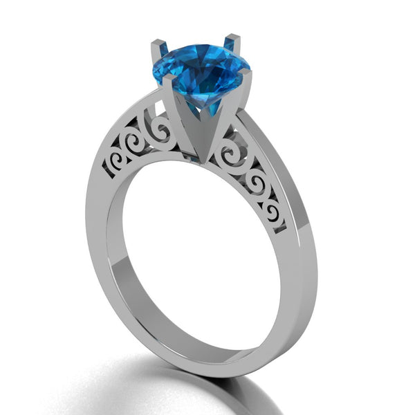 Gothic Scroll Engagement Ring in 14 k London Blue Topaz - Temple of The Ancient Dragon