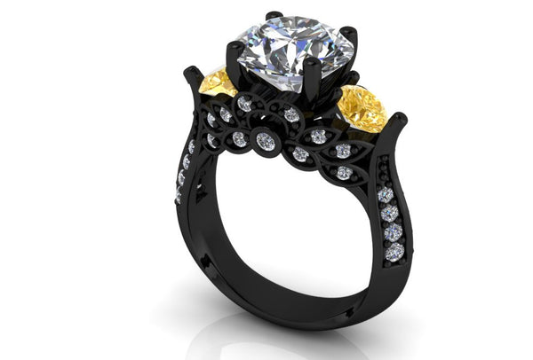 Black Gold 14 k White and Canary Moissanite Engagement Ring - Temple of The Ancient Dragon