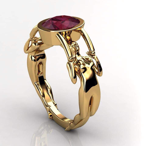 Art Deco Gothic Engagement Ring in 18 k Gold - Temple of The Ancient Dragon