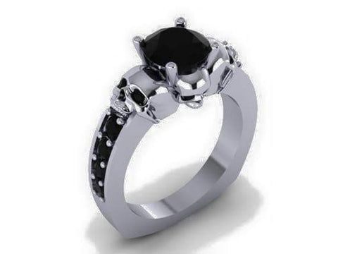 Skull Engagement Ring Black Diamond Center - Temple of The Ancient Dragon TM