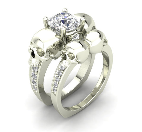 14 k White Gold Skull Engagement Ring White Moissanite Center - Temple of The Ancient Dragon