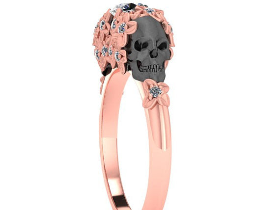 Skull Engagement Ring Rose Gold Floral Diamond - Temple of The Ancient Dragon
