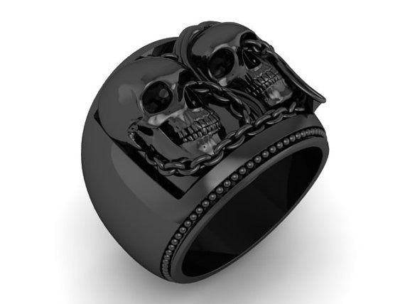 Skull Engagement Ring Chained Together - Temple of The Ancient Dragon