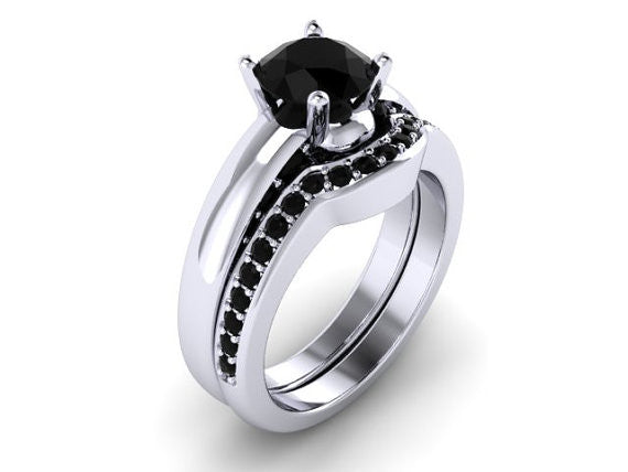 Black Diamond Skull Engagement Set - Temple of The Ancient Dragon
