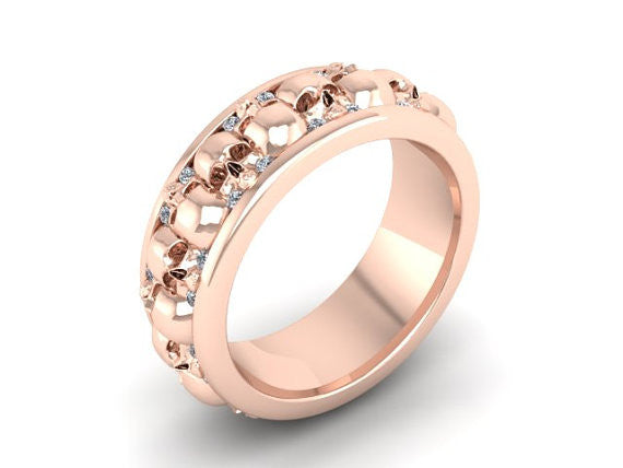 Skull Wedding Ring Rose Gold 10 k Temple of The Ancient Dragon