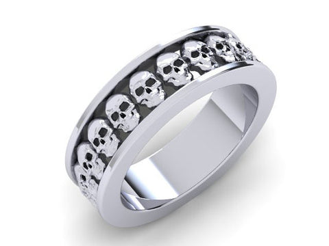Skull Wedding Band or Skull Band 10 k - Temple of The Ancient Dragon TM - 1