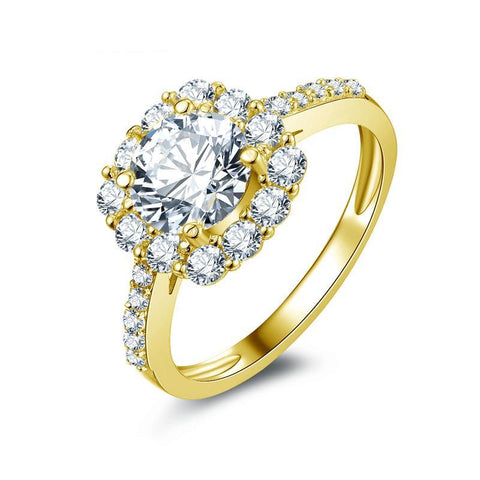 The Dream Cushion Ring in 14 K with Moissanite 2 CTW