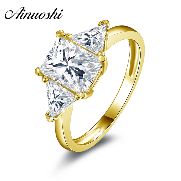 AINUOSHI 10k Solid Yellow Gold Wedding Ring Rectangle 1.5 ct Simulated Diamond Anillos Mujer Engagement for Lady Wedding Rings