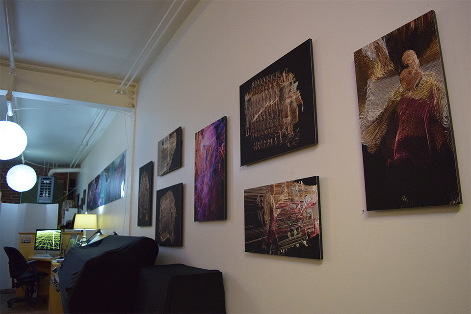 East Bay Open Studios, installation view, mounted Suspended Motion Series prints and metallic scroll, June 2015