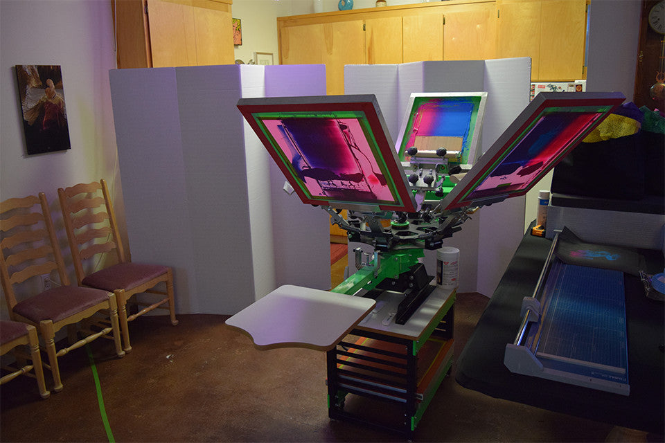 East Bay Open Studios, studio view including screen printing press, June 2015