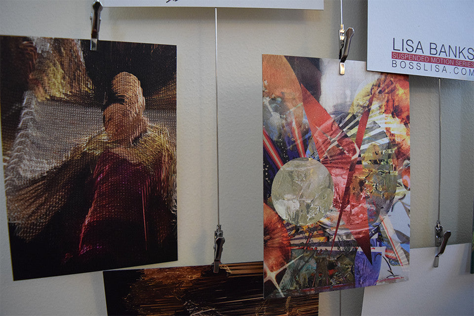 East Bay Open Studios, detail photo, Lisa Banks postcards, June 2015