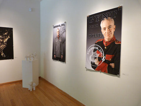 Photo of Peer Gynt propaganda posters installed in Eloise Pickard Smith Gallery, UCSC, April 2013 (photo by Drew Detweiler)