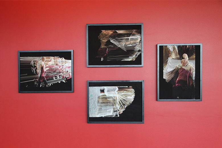 Suspended Motion Series I: I-IV prints installed at UCSC, May 2014
