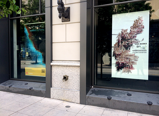 photo, Rittenhouse building, Santa Cruz, with UCSC Undercurrents MFA Exhibition poster hanging alongside Banks' Suspended Motion Series I poster, May 2014