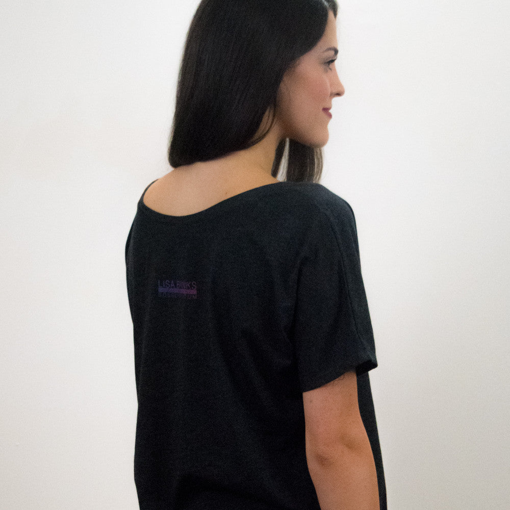 Suspended Motion Series Women's Tee (back), Charcoal-Black Triblend