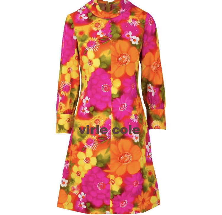 60's Vintage Flower Print Mod Style Shift Dress Vibrant Color Size 3/4