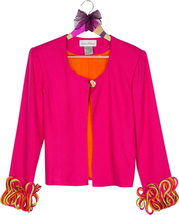 Pink Vintage Blazer with Fringed Accented Cuffs
