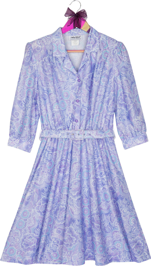 Purple Adorn Vintage 1960's Flower Printed Dress