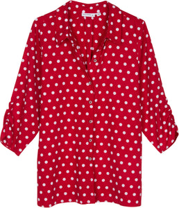 Vintage Red and White Polka Dot Print Blouse