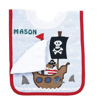 Embroidered Pirate Pullover Bib with Washcloth