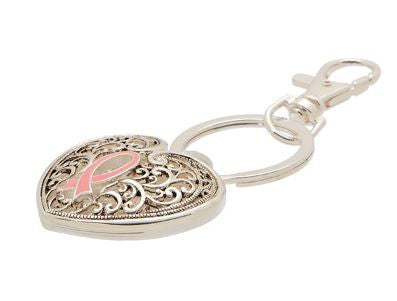 Pink Ribbon Breast Cancer Awareness Keychain