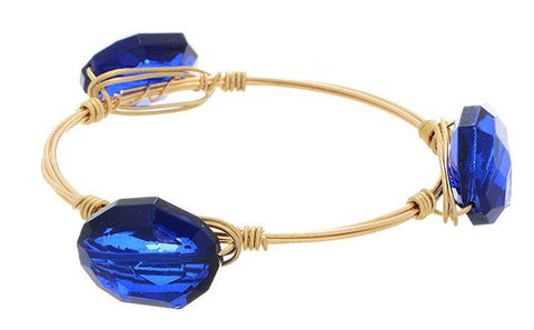 Gold and Blue Wire Wrapped Bracelet