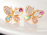 18Kgp Multicolor Rhinestone Butterfly Earrings