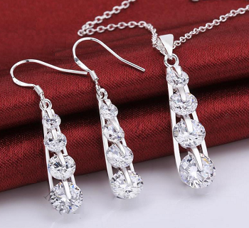Sterling Silver Crystal Necklace Earring Set