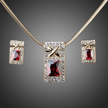 18k Gold Plated Dark Red CZ Earrings and Necklace