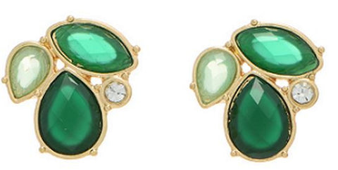 Gold and Green Leaf Shaped Earrings
