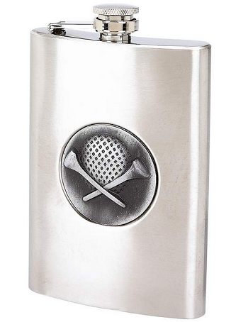 8oz Stainless Steel Flask with Golf Emblem