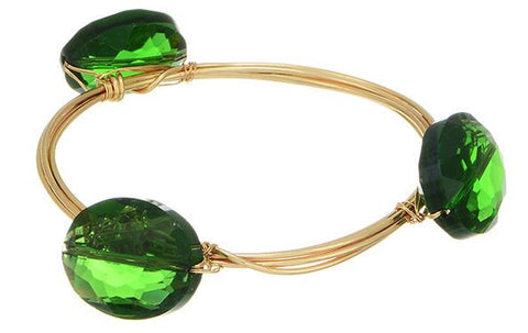 Gold and Green Wire Wrapped Bracelet