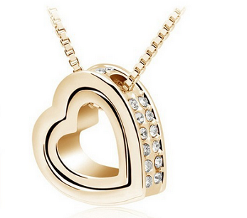 18K Gold Plated Austrian Crystal Heart Necklace