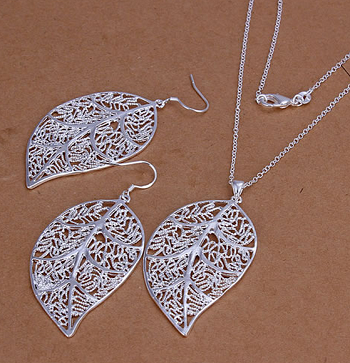 Sterling Silver Leaf Necklace and Earring Set