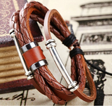 Rugged Leather wrap Unisex Bracelet